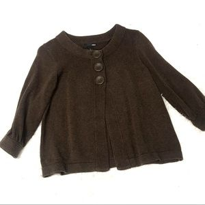 H&M Brown knit button front sweater small